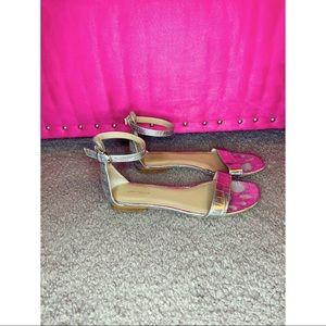 Ann Taylor - Silver Ankle Strap Sandals